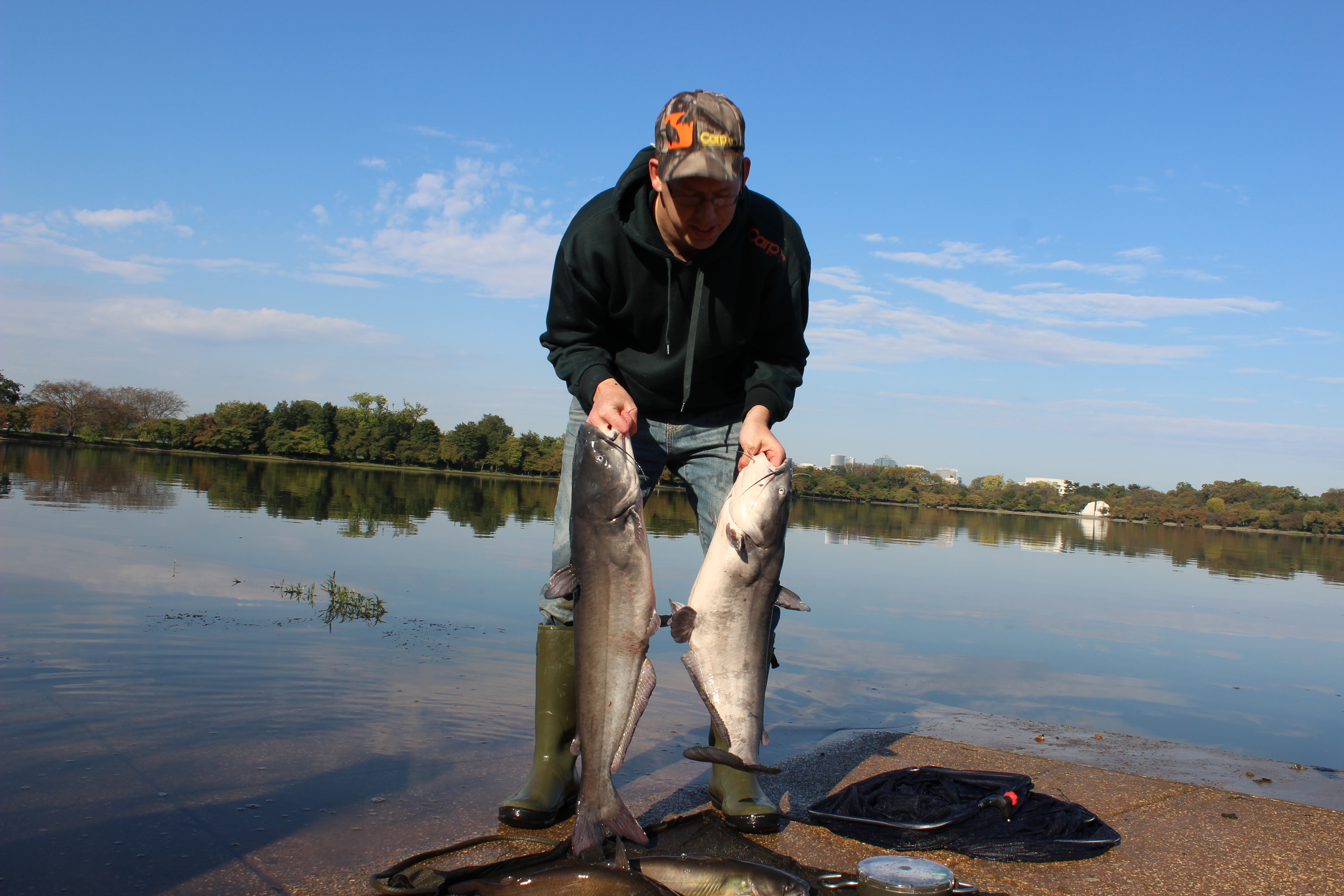 Two 18 lb blue catfish both caught on cured chicken liver with Pro-Cure and then released.